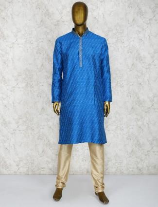 Royal blue cotton fabric festive kurta suit