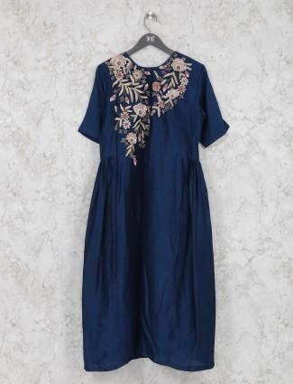 Royal blue cotton silk sober kurti