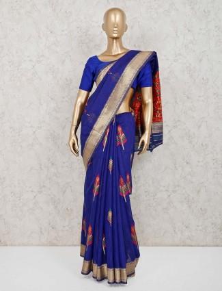 Royal blue handloom cotton saree in festive