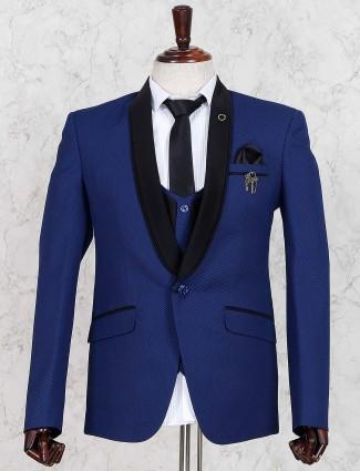 Royal blue hue mens solid coat suit
