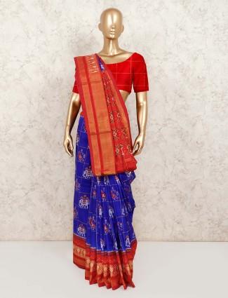 Royal blue hydrabadi patola silk saree for wedding