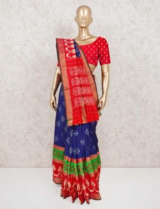 Royal blue patola silk festive saree