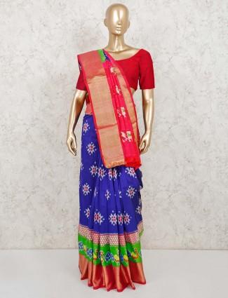 Royal blue patola silk reception wear saree