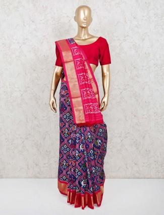Royal blue patola silk saree in wedding