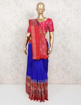 Royal blue saree in hydrabadi patola silk