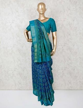 Royal blue silk festive wear saree