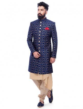 Royal blue silk wedding wear designer indo western