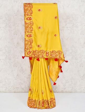 Royal Semi silk yellow saree
