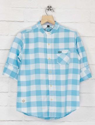 Ruff aqua hue checks chinese collar shirt