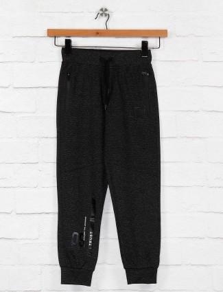 Ruff black color solid cotton night payjama