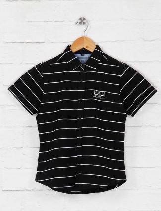 Ruff black cotton fabric stripe shirt