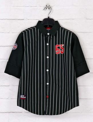 Ruff black full buttoned placket stripe shirt