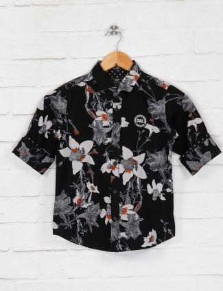 Ruff black printed pattern casual shirt