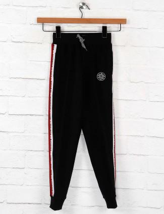 Ruff black solid cotton fabric payjama