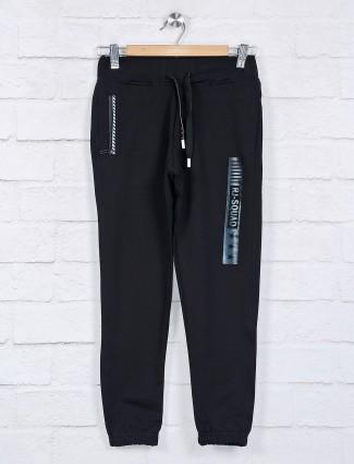 Ruff black solid cotton night payjama