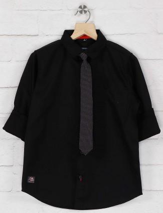 Ruff boys solid black hue party shirt