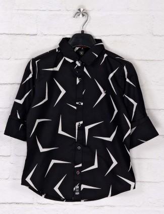 Ruff casual wear black printed shirt