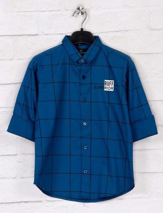 Ruff checks blue cotton boys shirt