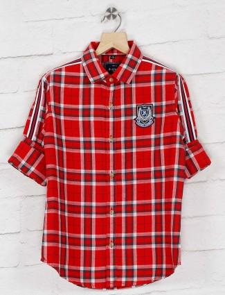 Ruff checks red color cotton shirt