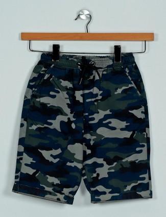 Ruff cotton blue camoflauge pattern boys shorts