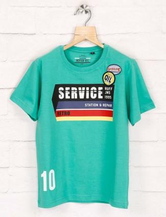 Ruff green printed half sleeeves t-shirt
