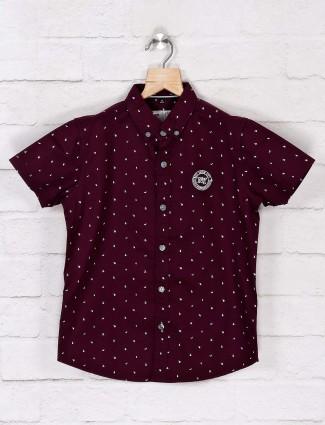 Ruff half sleeves wine purple printed shirt
