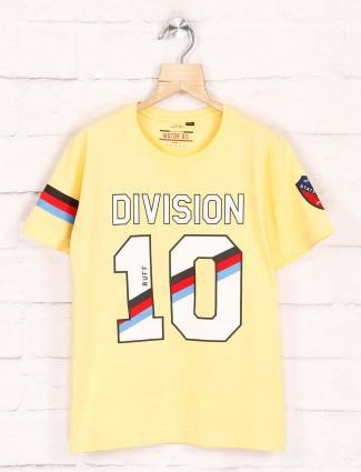 Ruff lemon yellow printed casual t-shirt