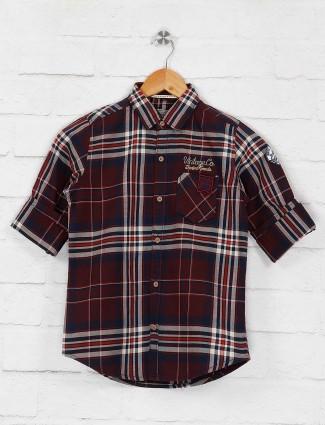Ruff maroon checks cotton shirt