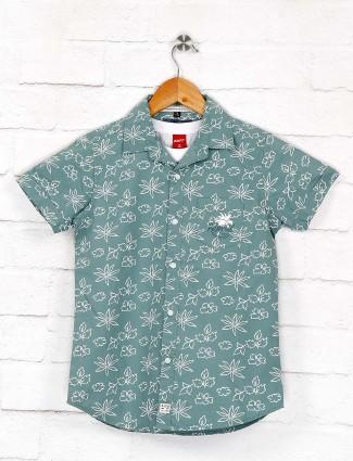 Ruff mint green casual wear printed shirt