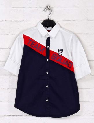 Ruff navy and white printed cotton shirt