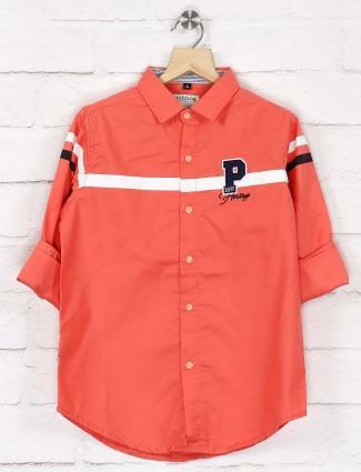 Ruff peach color solid cotton shirt