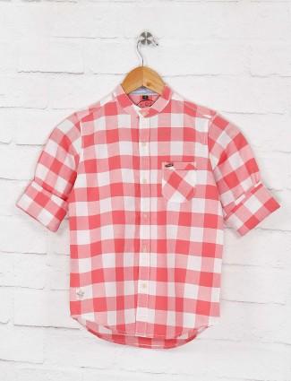 Ruff pink color chinese neck checks shirt