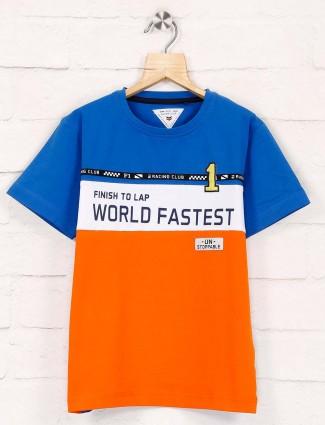 Ruff presented orange and blue printed t-shirt