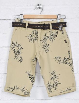 Ruff printed beige cotton casual short