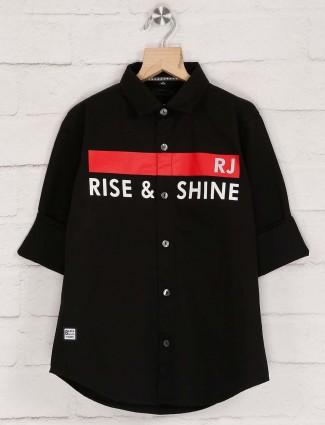 Ruff printed black cotton boys shirt