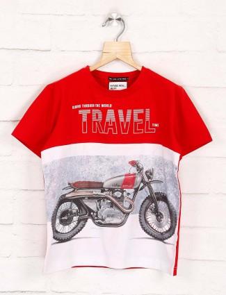 Ruff red and white bike print t-shirt