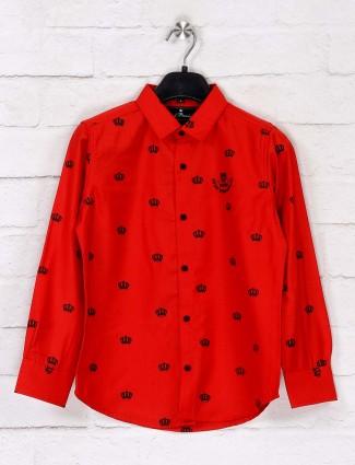 Ruff red slim fit printed shirt