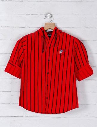 Ruff red stripe shirt with hood