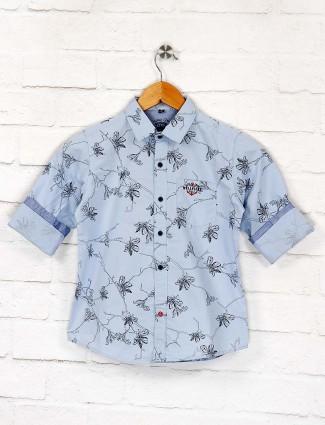 Ruff sky blue flower printed shirt