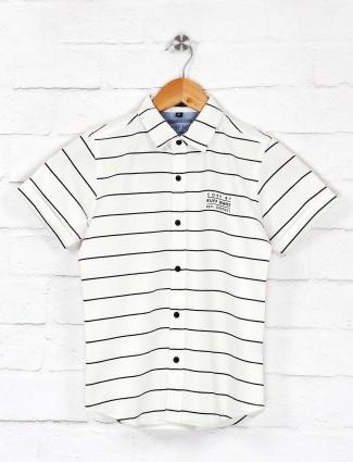 Ruff slim fit white stripe casual shirt