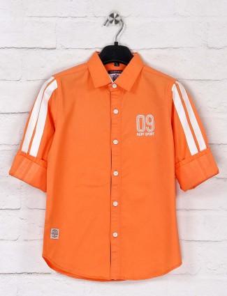 Ruff solid cotton orange full sleeves shirt