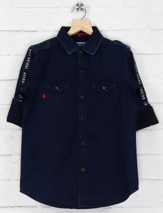 Ruff solid dark navy hue denim shirt