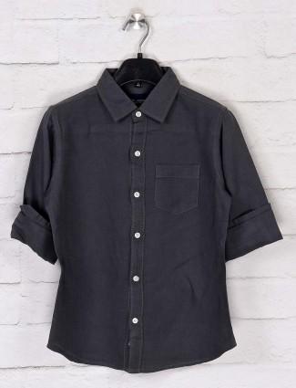Ruff stone grey casual patch pocket shirt