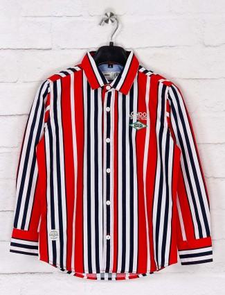 Ruff stripe red boys cotton shirt