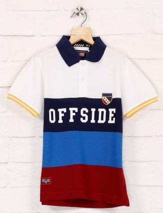 Ruff stripe white and blue t-shirt