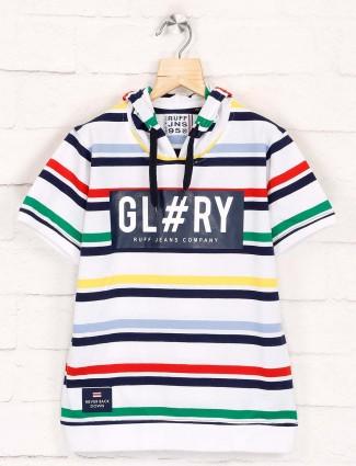 Ruff stripe white cotton hooded t-shirt