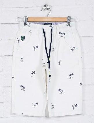 Ruff white casual wear printed short