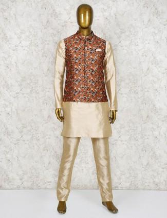 Rust orange and beige raw silk printed waistcoat set
