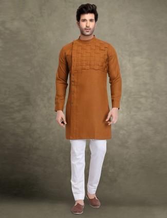 防锈橙色棉织物kurta西装