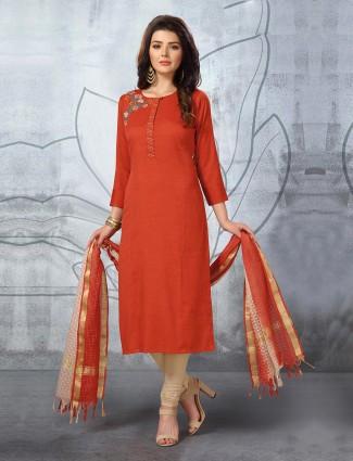 Rust orange cotton fabric punjabi churidar suit for festival